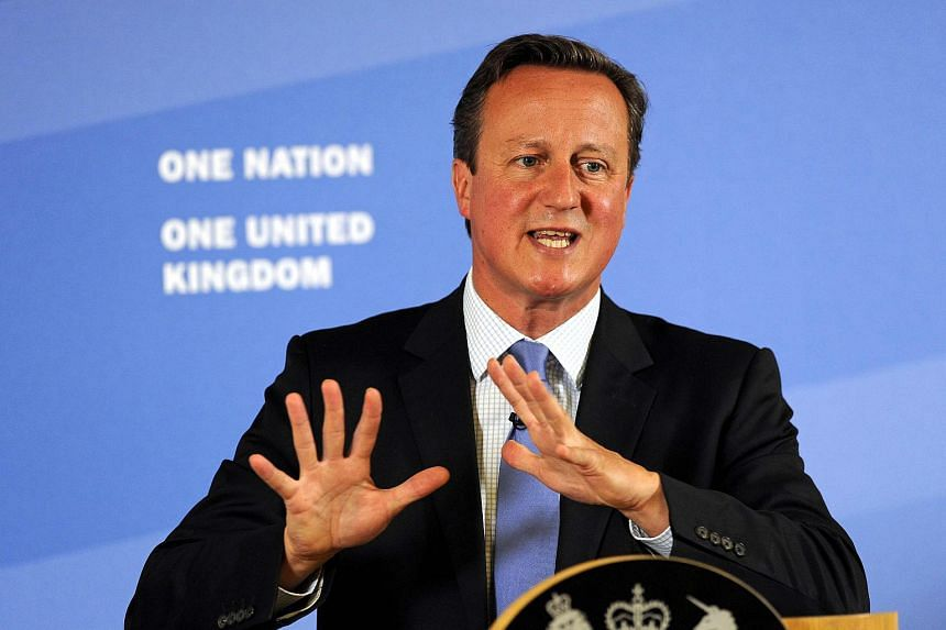 Britain's Prime Minister David Cameron gestures as he speaks in Leeds, Britain, on Sept 11, 2015.
