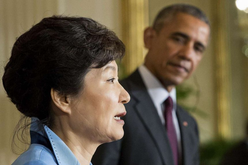 Mr Obama listening to Ms Park speak during the joint press conference in the White House on Friday. Their show of unity is particularly significant as both countries navigate the changing balance of power in North-east Asia.