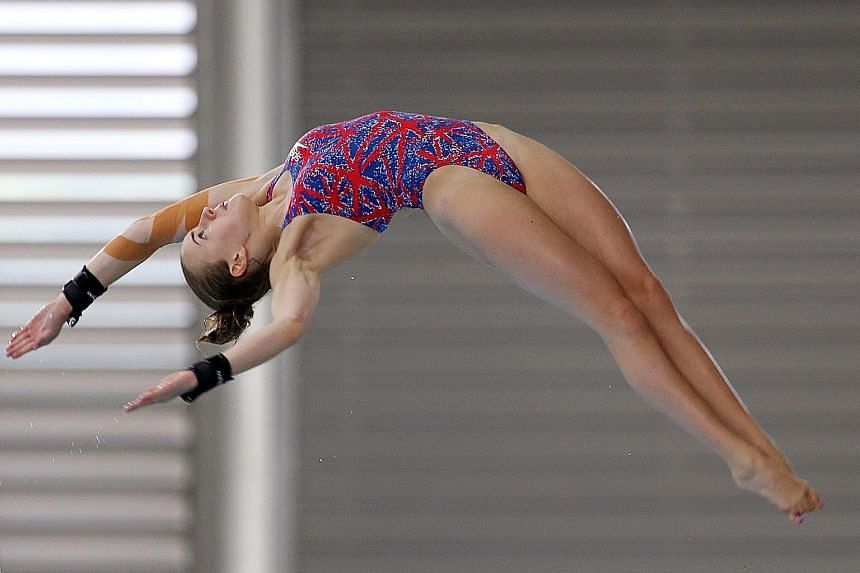 Lois Toulson of Great Britain won gold in the 10m platform yesterday, with China settling for second and third.