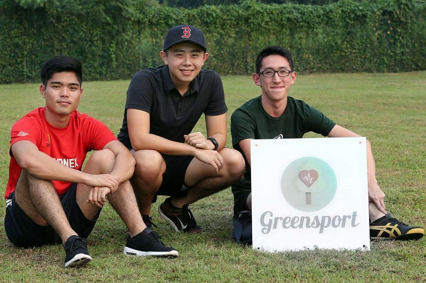 From left: Mr Douglas Yuen, Mr Alfred Li and Mr Jaryl Ngan, all 20 years old, wanted to promote environmental awareness and hit on the idea of starting Greensport Singapore about a year ago.