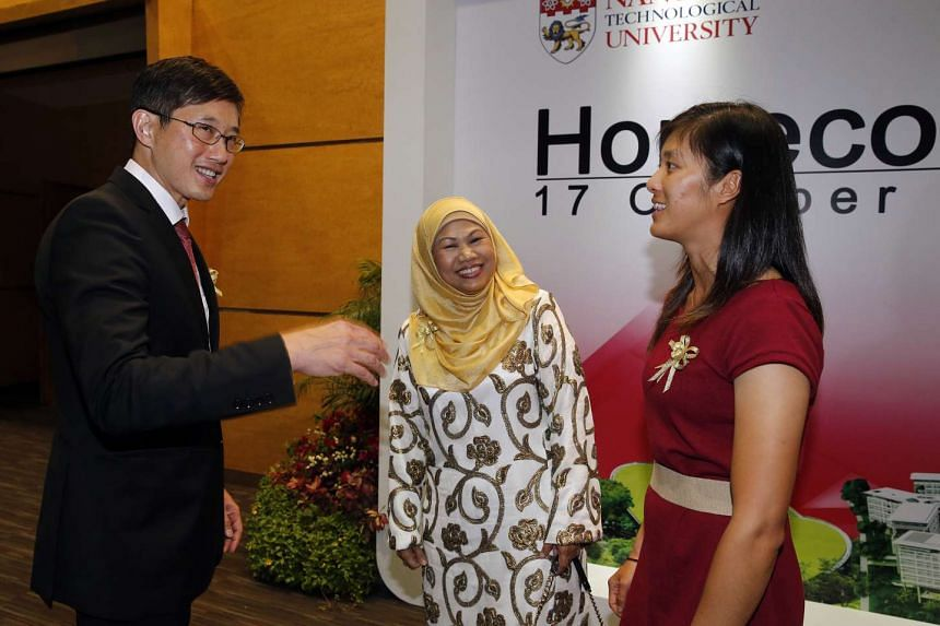NTU paid tribute to outstanding former students including (from left) Minister of State for Manpower Teo Ser Luck, Princess Elizabeth Primary principal Moliah Hashim, and national sailor Jovina Choo.