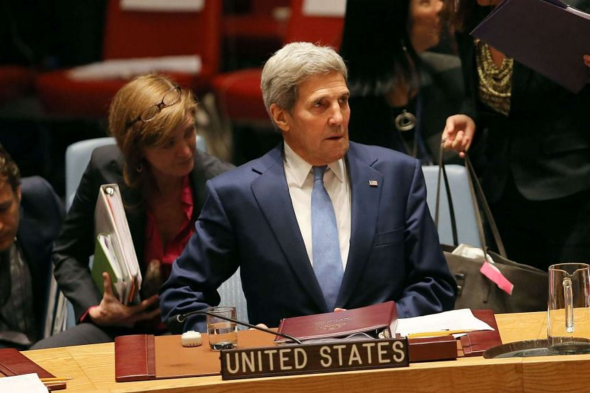 US Secretary of State John Kerry attending a Security Council meeting on counter-terrorism at the United Nations in New York on Sept 30, 2015.