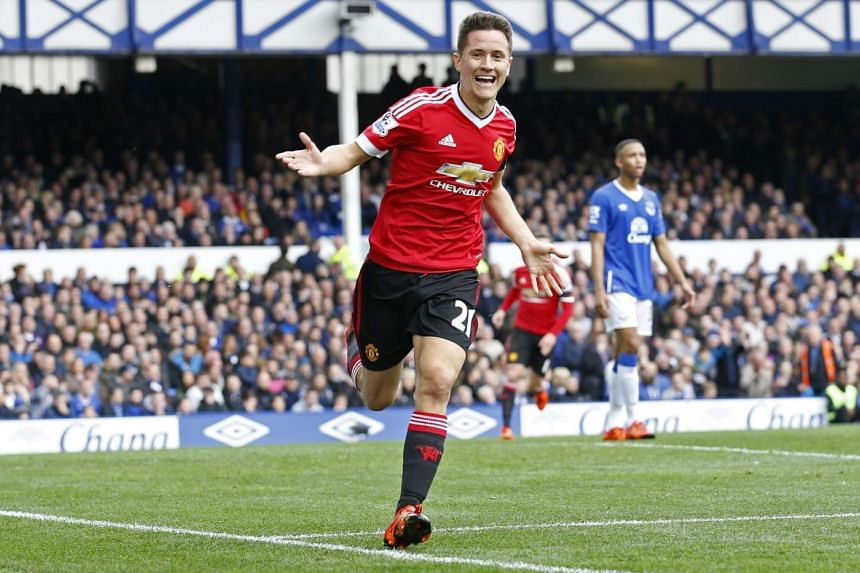 Manchester United's Ander Herrera celebrating after scoring his team's second goal during their English Premier League match against Everton at Goodison Park on Oct 17, 2015.