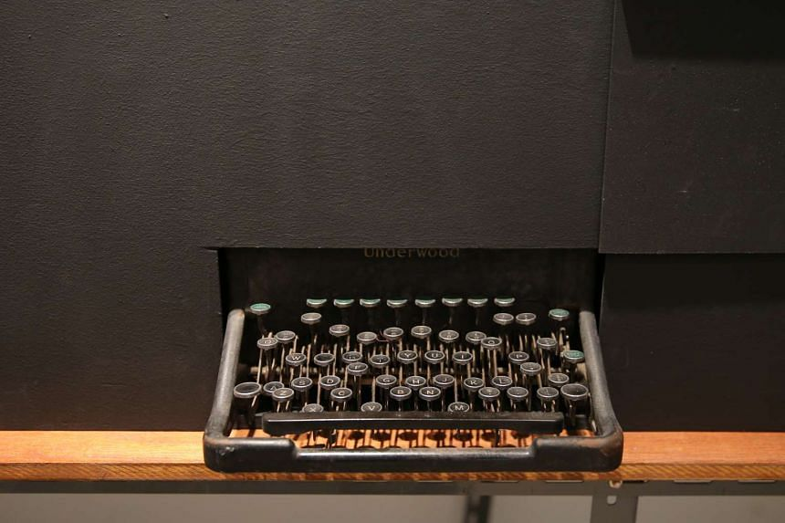 A replica of a teleprinter, which is a typewriter used to send and receive messages, on display in the bunker.