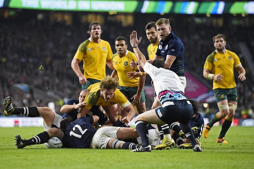 Australia's Tevita Kuridrani scores a try during the Australia v Scotland IRB Rugby World Cup 2015 Quarter Final.