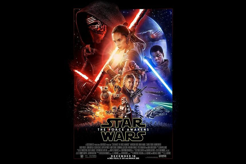 The poster for Star Wars: The Force Awakens features faces new and old.
