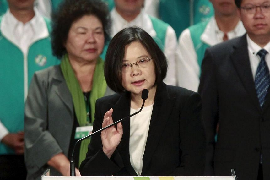 Taiwan's main opposition Democratic Progressive Party (DPP) Chairperson Tsai Ing-wen gives a speech at a party congress in Taoyuan, northern Taiwan, on Sept 19, 2015.