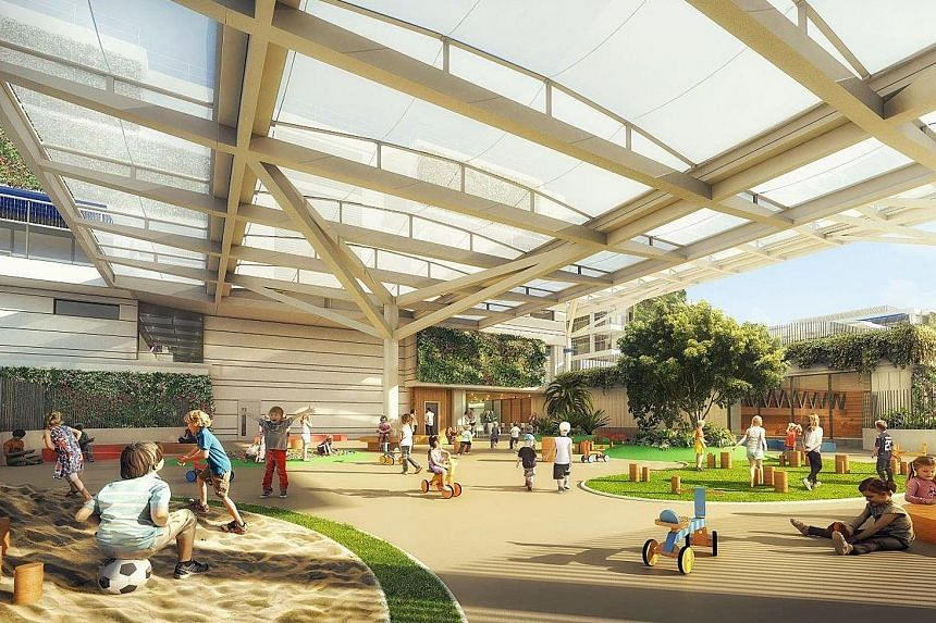 An artist's impression of the Australian International School's new 50,000 sq m facility, which will include a 22m-long swimming pool and a gymnasium for young children. The extension will be ready in 2017.