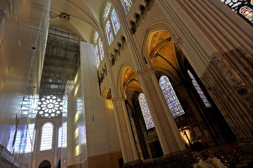 A picture taken on Sept 15, 2015 shows a view of the interior of the Chartres Cathedral during renovation work.