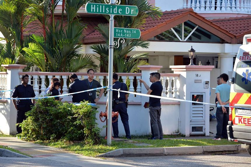 Police officers and forensic staff outside the terrace house in Hillside Drive, where the murders took place.