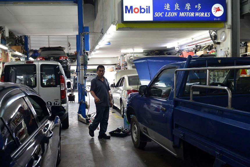 The interior of Mr Tan Boon Sin's car workshop Soc Leon Motor Works, where Mr Tan was last seen alive by one of his staff, on July 16, 2013.
