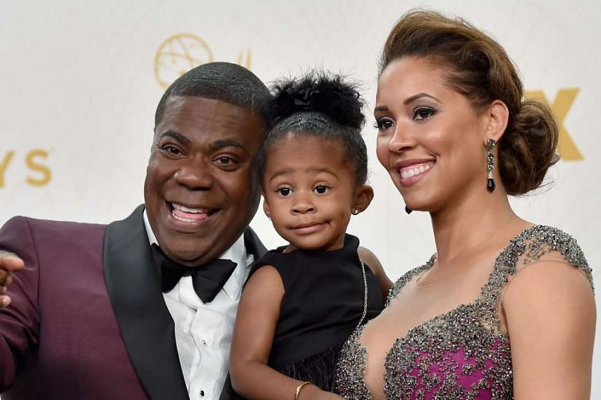 Tracy Morgan with his wife Megan Wollover and daughter Maven Sonae.