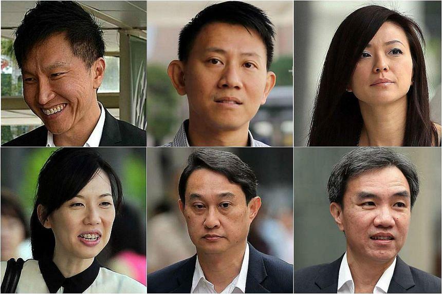 Clockwise from top left: Kong Hee, Tan Ye Peng, Serina Wee, John Lam, Chew Eng Han, Sharon Tan.