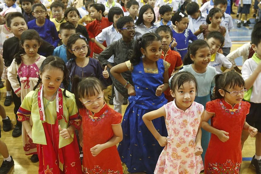 Pupils at Anchor Green Primary School in Sengkang dressed in their ethnic costumes to mark Racial Harmony Day on July 21.