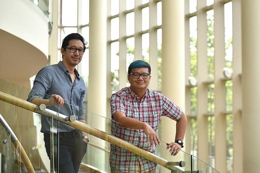 Jason Lai (above left) and songwriter Kelvin Tan (right).