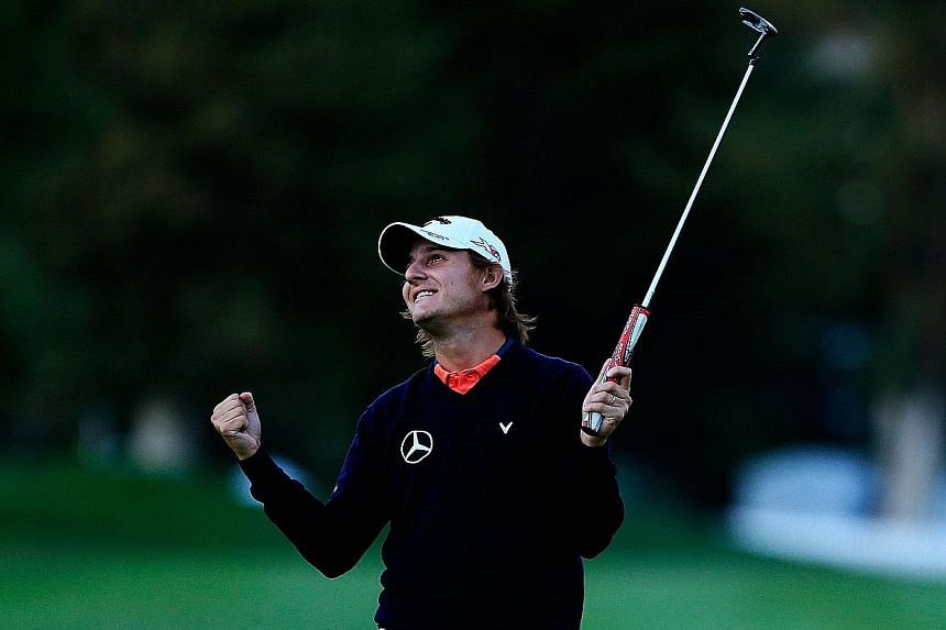 Emiliano Grillo of Argentina is thrilled after winning the Frys.com Open. He needed two extra holes to beat Kevin Na and will be glad to be remembered for more than being the golfer who nearly hit Rory McIlroy with a long drive during the third round