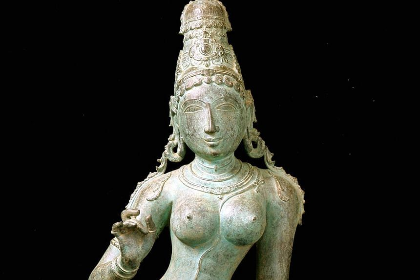 This 11th-century bronze sculpture depicting Hindu goddess Uma Parameshvari will be returned at the request of the Indian government. The ACM said it had bought the sculpture from disgraced New York art dealer Subhash Kapoor's now-defunct gallery Art