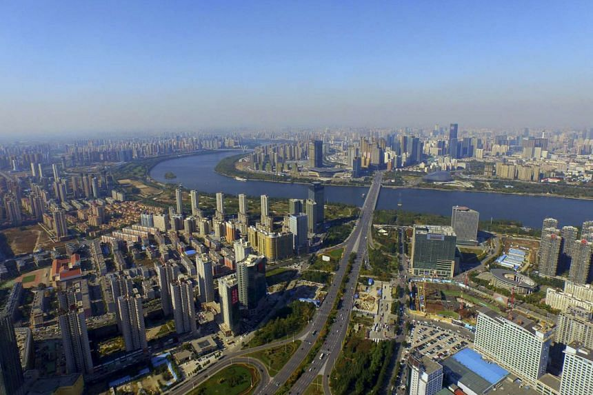 An aerial view shows the city skyline of  Shenyang, Liaoning province, China, on Oct 18,  2015.