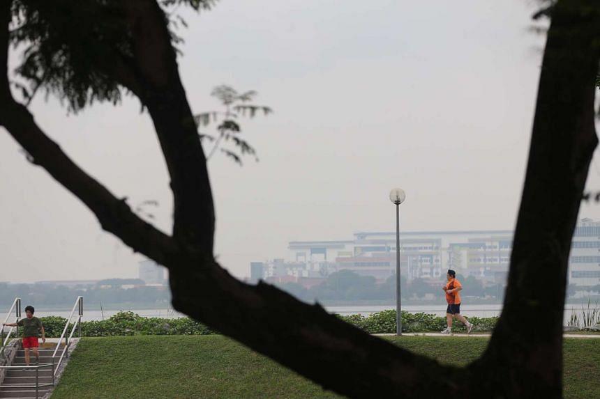 A man jogging around Pandan Reservoir at 7.30am on Tuesday.