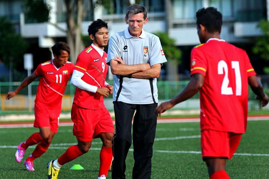 Former Singapore coach Raddy Avramovic training with the Myanmar football team at Serangoon Stadium last November during the AFF Championship. He lasted less than two years at the helm.