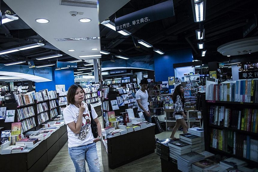 Books that put Chinese politicians in a bad light are tucked out of sight in the Commercial Press bookstore in Hong Kong.