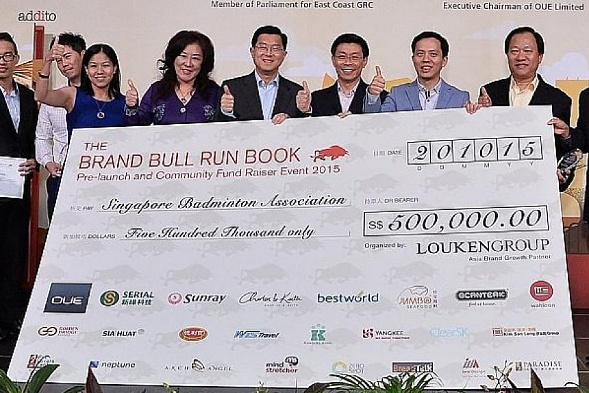 SBA president Lee Yi Shyan (third from right), Luke Lim, group chief executive officer of Louken Group (second from right) and some of the representatives of donor companies.