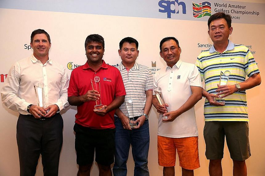 From left: Ron Totton, Sushminder Singh, Goh Chuan Chin, Willy Teo and Frankie Lim won their respective categories to qualify for the World Amateur Golfers Championship in Turkey.