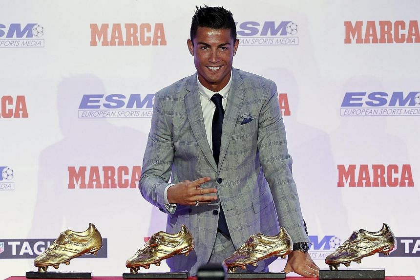 Real Madrid striker Cristiano Ronaldo with his four Golden Boot trophies during a ceremony in Madrid last week, after winning the European Golden Shoe trophy for a record fourth time. French newspaper Le Parisien said this week that the possibility o