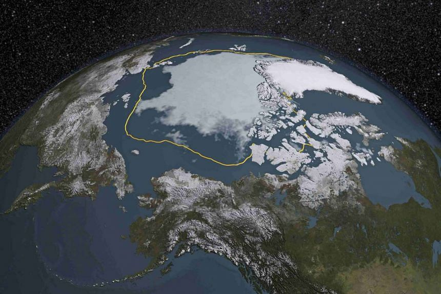 The Arctic region is seen in a 2015 Nasa image showing that the Arctic sea ice summertime minimum is 1.8 million sq km below the 1981-2010 average (shown here as a gold line).