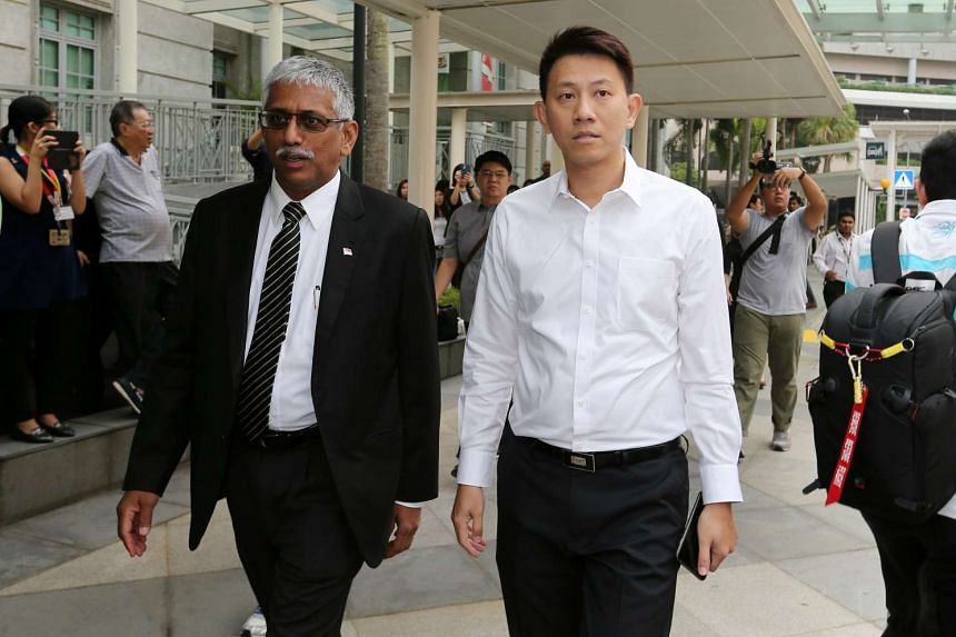 CHC deputy senior pastor Tan Ye Peng (right) and his lawyer arriving at the State Courts.