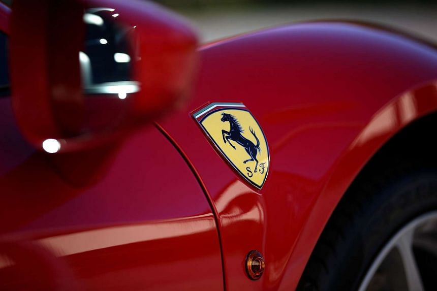 A Ferrari is displayed in the showroom at Ferrari of San Francisco on Oct 20, 2015.