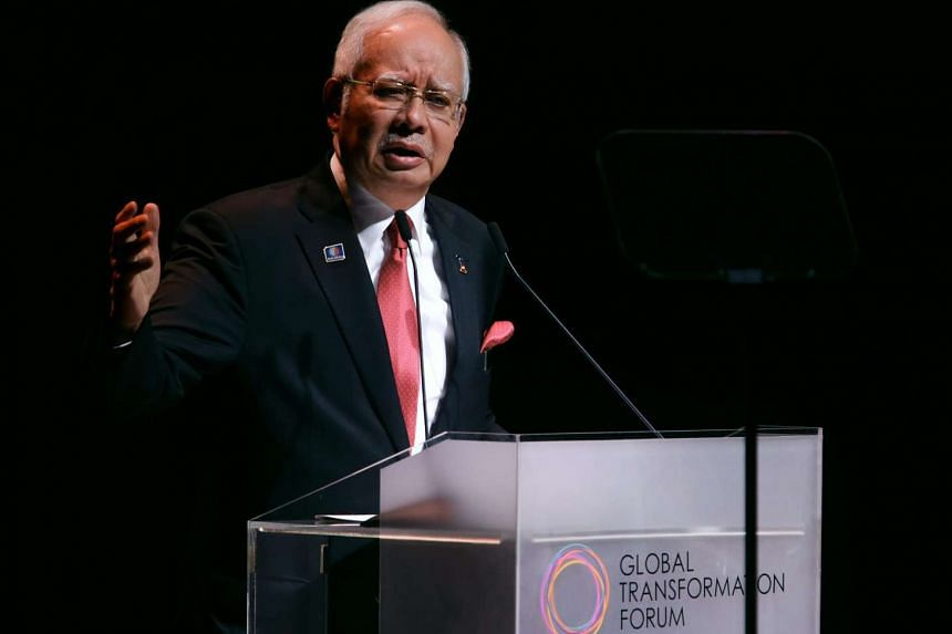 Malaysian Prime Minister Najib Razak speaks during the Global Transformation Forum at the KL Convention Centre in Kuala Lumpur, Malaysia on Oct 21, 2015.