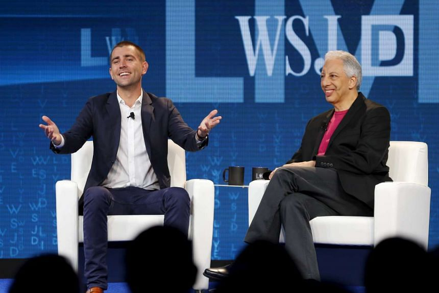 Chris Cox (left), Chief Product Officer at Facebook speaks during an interview by Jonathan Krim, Global Technology Editor of the The Wall Street Journal at the  WSJDLive  conference at in Laguna Beach, California on Tuesday.