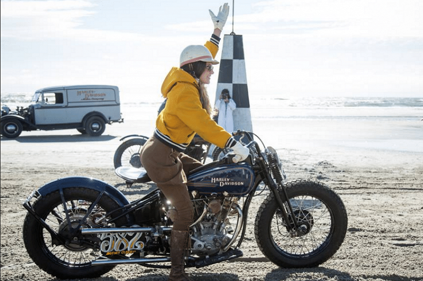 Enthusiasts race pre-1947 Harley-Davidson's down the sandy ocean shores of Wildwood, New Jersey in the Race of Gentlemen 2015 on Sunday.