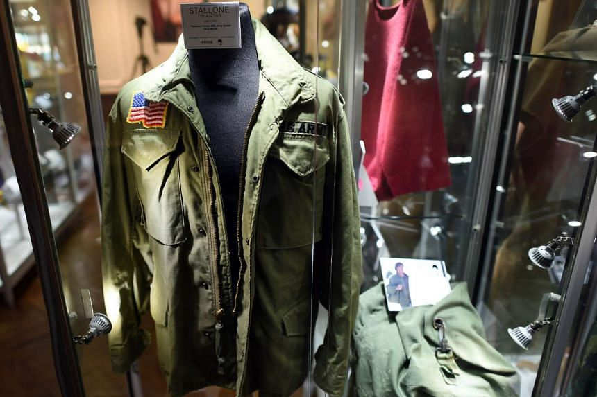 The US Army jacket worn by actor Sylvester Stallone in the film First Blood is displayed during a press preview of Heritage Auctions upcoming auction.