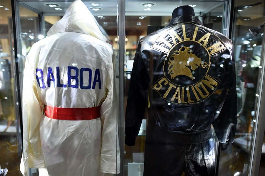 Boxing robes from the Sylvester Stallone film Rocky IV on display during a press preview of Heritage Auctions upcoming auction.