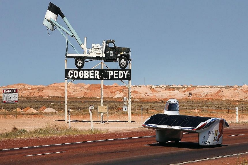 Nuna8 of Nuon Solar Team Netherlands is seen here on day four of the 2015 World Solar Challenge. Forty-five cars from 25 countries are taking part in this 3,000km race across the Australian outback. All have one thing in common - they are powered by