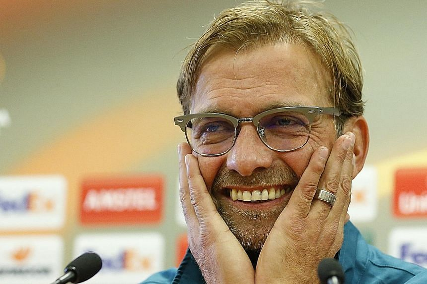 Liverpool manager Juergen Klopp during yesterday's press conference. Klopp's first home game in charge will be against Rubin Kazan in the Europa League.