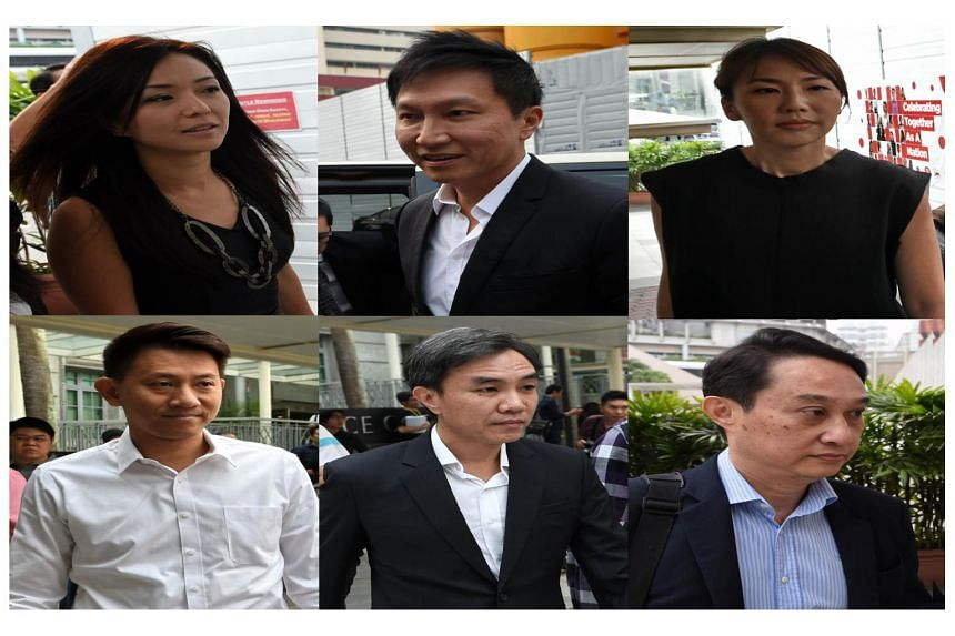 City Harvest Church leaders Kong Hee (top centre), Serina Wee (top left), Sharon Tan (top right), Tan Ye Peng (bottom left), John Lam (bottom centre), and Chew Eng Han (bottom right) arrive at the State Courts on Oct 21, 2015.