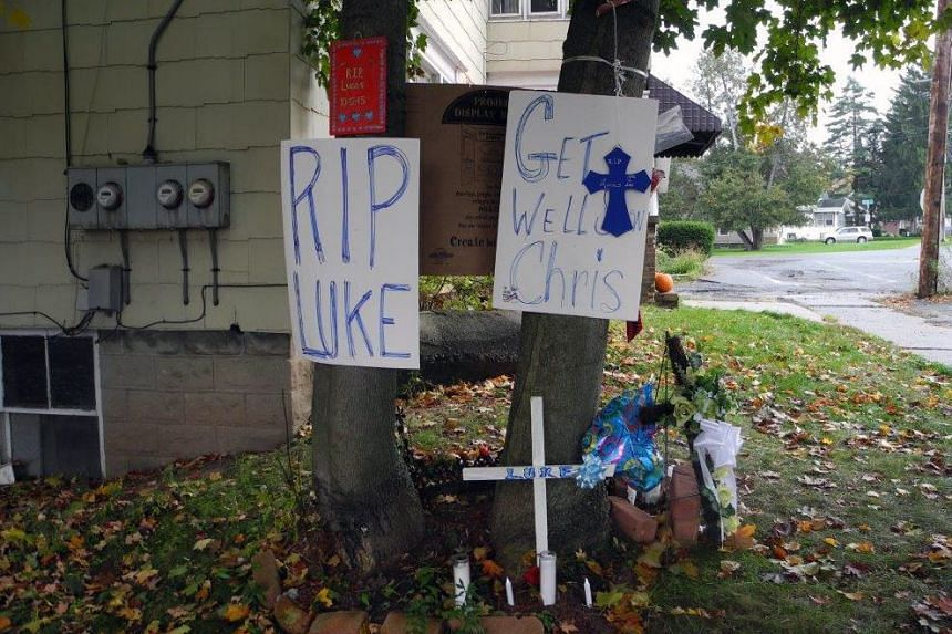 Signs posted outside the Word of Life Christian Church on Oct 21, 2015, in New Hartford, New York.