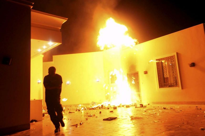 The US Consulate in Benghazi in flames during a protest by an armed group said to be against a film being produced in the US on Sept 11, 2012.