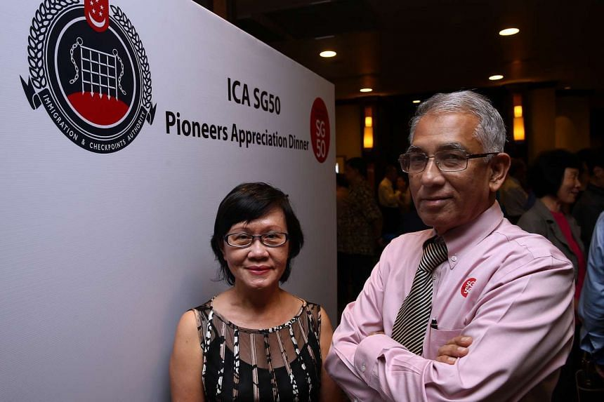 ICA director of policy administration and international affairs Ho Sow Heng and former assistant superintendent Ismail Batcha were among the ICA pioneers honoured at the dinner on Oct 22, 2015.