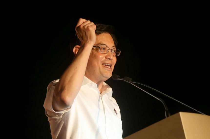 Mr Heng Swee Keat speaking at the end of the People Action Party's (PAP) rally for Tampines GRC at Ngee Ann Secondary School on Sept 8, 2015.