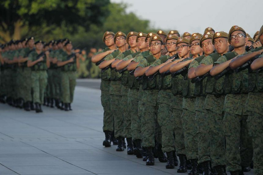 Members of the Singapore Armed Forces during the march pass at the SAF Day Parade on 1 July, 2013.