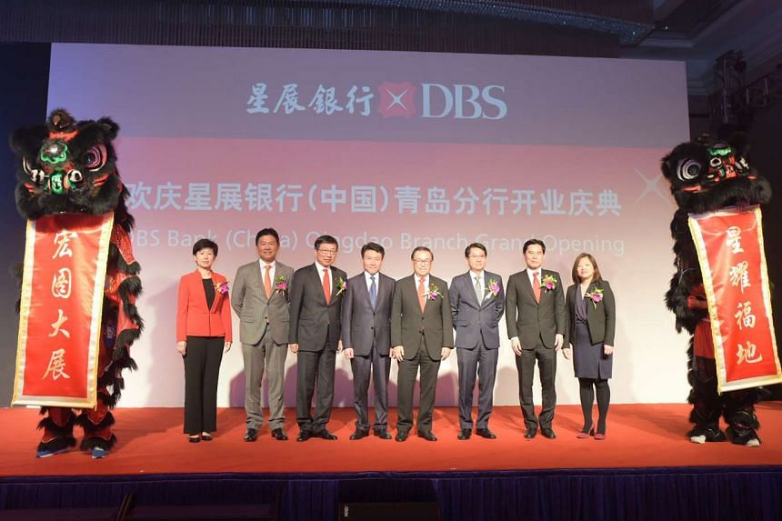 Singapore Ambassador to China Stanley Loh (third from right); DBS Group Holdings chairman Peter Seah (fourth from right); DBS China chief executive Neil Ge (third from left); and Monetary Authority of Singapore Beijing Office Chief Representative Tay