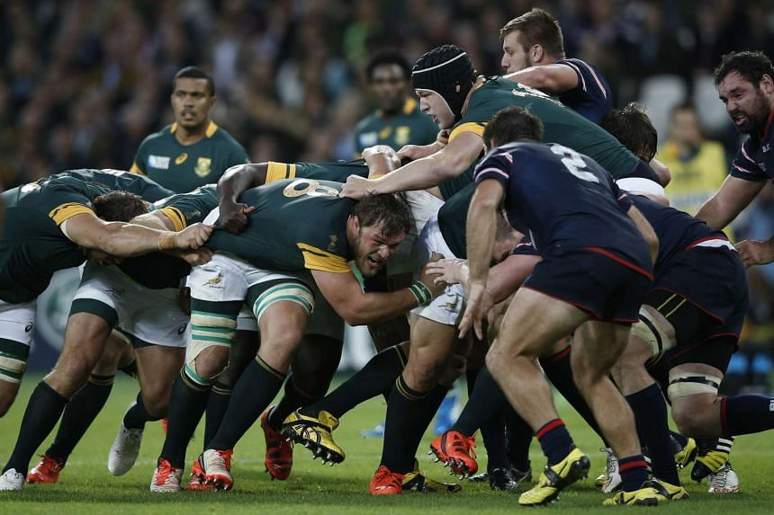 South Africa's No. 8 Duane Vermeulen engaging in a maul during the Rugby World Cup match with the United States on Oct 7. When done well, a maul with momentum is almost impossible to stop.