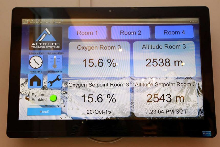 The touch-screen monitor that displays a room's oxygen level and 'altitude'.