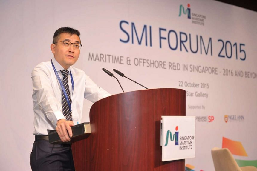 MPA chief executive Andrew Tan speaking at the 5th Singapore Maritime Institute Forum on Oct 22, 2015.
