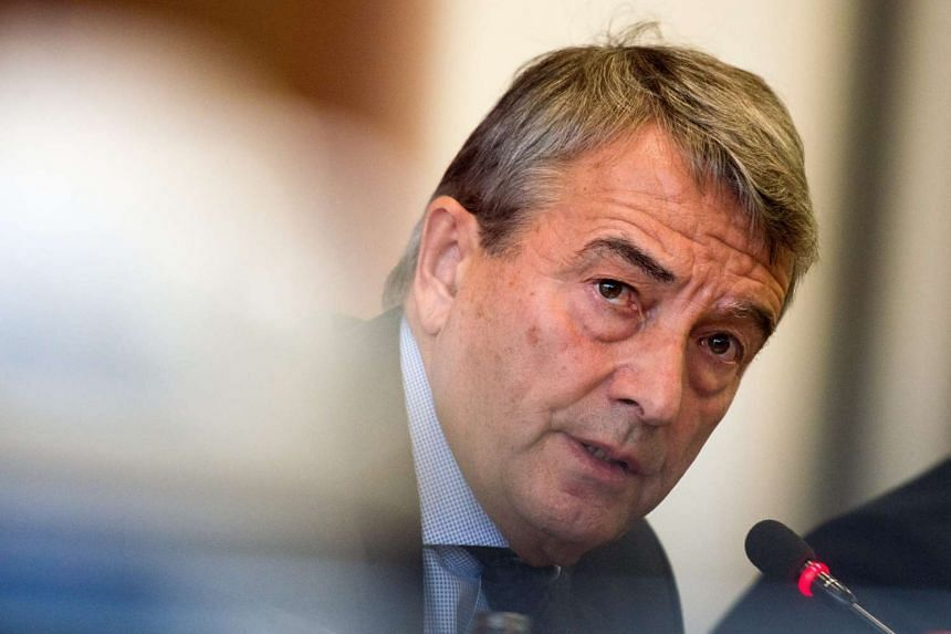 Mr Wolfgang Niersbach, President of the German Football Association (DFB), speaks at a press conference at the DFB headquarters in Frankfurt am Main, Germany, on Oct 22, 2015.