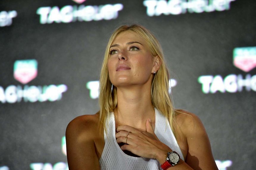 Maria Sharapova during a press conference at the Tag Heuer event on Oct 22, 2015, where Tag Heuer launched Singapore's first ever floating tennis platform, ahead of the WTA Finals in Singapore.
